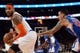 Jan 17, 2014; New York, NY, USA; Los Angeles Clippers small forward Matt Barnes (22) guards New York Knicks small forward Carmelo Anthony (7) during the second half at Madison Square Garden. The Los Angeles Clippers won 109-94. Mandatory Credit: Joe Camporeale-USA TODAY Sports
