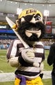 """Dec 23, 2013; St. Petersburg, FL, USA; East Carolina Pirates mascot,  Pee Dee """"The Pirate"""", against the Ohio Bobcats during the first quarter at the 2013 Beef O Bradys Bowl at Tropicana Field. Mandatory Credit: Kim Klement-USA TODAY Sports"""