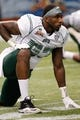 Dec 23, 2013; St. Petersburg, FL, USA; Ohio Bobcats defensive lineman Tarell Basham (93) works out prior to the game against the East Carolina Pirates during the 2013 Beef O Bradys Bowl at Tropicana Field. Mandatory Credit: Kim Klement-USA TODAY Sports
