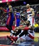 Jan 18, 2014; Washington, DC, USA; Washington Wizards forward Nene (42) reacts after a foul call in the fourth quarter against the Detroit Pistons at Verizon Center. Mandatory Credit: Evan Habeeb-USA TODAY Sports