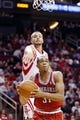 Jan 18, 2014; Houston, TX, USA; Milwaukee Bucks center John Henson (31) drives to the basket past Houston Rockets forward Chandler Parsons (25) during the second half at Toyota Center. The Rockets won 114-104. Mandatory Credit: Soobum Im-USA TODAY Sports