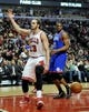 Jan 18, 2014; Chicago, IL, USA; Chicago Bulls center Joakim Noah (13) reacts after scoring against the Philadelphia 76ers during the second half at the United Center. The Chicago Bulls defeated the Philadelphia 76ers 103-78. Mandatory Credit: David Banks-USA TODAY Sports