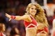 Jan 18, 2014; Houston, TX, USA; A Houston Rockets cheerleader performs during the first half against the Milwaukee Bucks at Toyota Center. The Rockets won 114-104. Mandatory Credit: Soobum Im-USA TODAY Sports