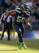 Sep 22, 2013; Seattle, WA, USA; Seattle Seahawks linebacker K.J. Wright (50) during the game against the Jacksonville Jaguars at CenturyLink Field. Mandatory Credit: Kirby Lee-USA TODAY Sports