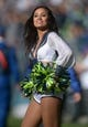 Sep 22, 2013; Seattle, WA, USA; Seattle Seahawks sea gals cheerleaders perform during the game against the Jacksonville Jaguars at CenturyLink Field. Mandatory Credit: Kirby Lee-USA TODAY Sports