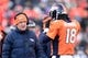 Dec 8, 2013; Denver, CO, USA; Denver Broncos head coach John Fox and quarterback Peyton Manning (18) in the second quarter against the Tennessee Titans at Sports Authority Field at Mile High. Mandatory Credit: Ron Chenoy-USA TODAY Sports
