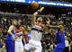 Jan 20, 2014; Washington, DC, USA; Washington Wizards center Marcin Gortat (4) is fouled by Philadelphia 76ers shooting guard James Anderson (9) during the first half at Verizon Center. Mandatory Credit: Brad Mills-USA TODAY Sports