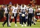 Aug. 24, 2013; Glendale, AZ, USA: San Diego Chargers quarterback Philip Rivers (17) and tight end Antonio Gates (85) argue with a referee against the Arizona Cardinals during a preseason game at University of Phoenix Stadium. Mandatory Credit: Mark J. Rebilas-USA TODAY Sports