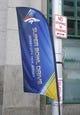 Jan 26, 2014; Jersey City, NJ, USA; Super Bowl signage outside the Hyatt Regency hotel. Mandatory Credit: Jim O'Connor-USA TODAY Sports