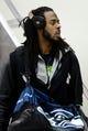 Jan 26, 2014; Newark, NJ, USA; Seattle Seahawks cornerback Richard Sherman arrives at Newark Liberty International Airport to face the Denver Broncos in Super Bowl XLVIII. Mandatory Credit: Joe Camporeale-USA TODAY Sports