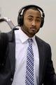 Jan 26, 2014; Newark, NJ, USA; Seattle Seahawks linebacker K.J. Wright arrives at Newark Liberty International Airport to face the Denver Broncos in Super Bowl XLVIII. Mandatory Credit: Joe Camporeale-USA TODAY Sports