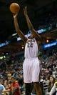 Jan 22, 2014; Milwaukee, WI, USA; Milwaukee Bucks forward Khris Middleton (22) during the game against the Detroit Pistons at BMO Harris Bradley Center.  Milwaukee won 104-101.  Mandatory Credit: Jeff Hanisch-USA TODAY Sports