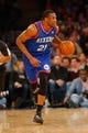 Jan 22, 2014; New York, NY, USA;  Philadelphia 76ers power forward Thaddeus Young (21) brings the ball up court during the first half against the New York Knicks at Madison Square Garden. Mandatory Credit: Jim O'Connor-USA TODAY Sports