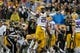 Jan 1, 2014; Tampa, Fl, USA;LSU Tigers cornerback Jalen Mills (28) reacts after they made a stop against the Iowa Hawkeyes  during the second half at Raymond James Stadium. LSU Tigers defeated the Iowa Hawkeyes 21-14. Mandatory Credit: Kim Klement-USA TODAY Sports