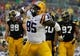 Jan 1, 2014; Tampa, Fl, USA; LSU Tigers tight end Dillon Gordon (85) reacts after they scored a touchdown against the Iowa Hawkeyes during the first quarter at Raymond James Stadium. Mandatory Credit: Kim Klement-USA TODAY Sports