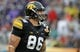 Jan 1, 2014; Tampa, Fl, USA; Iowa Hawkeyes tight end C.J. Fiedorowicz (86) against the LSU Tigers during the first quarter at Raymond James Stadium. Mandatory Credit: Kim Klement-USA TODAY Sports