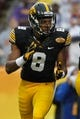 Jan 1, 2014; Tampa, Fl, USA; Iowa Hawkeyes wide receiver Don Shumpert (8) against the LSU Tigers during the first quarter at Raymond James Stadium. Mandatory Credit: Kim Klement-USA TODAY Sports
