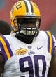 Jan 1, 2014; Tampa, Fl, USA; LSU Tigers defensive tackle Anthony Johnson (90) against the Iowa Hawkeyes prior to the game at Raymond James Stadium. Mandatory Credit: Kim Klement-USA TODAY Sports