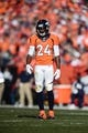 January 19, 2014; Denver, CO, USA; Denver Broncos cornerback Champ Bailey (24) during the first half against the New England Patriots in the 2013 AFC Championship football game at Sports Authority Field at Mile High. Mandatory Credit: Ron Chenoy-USA TODAY Sports