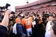 January 19, 2014; Denver, CO, USA; Denver Broncos quarterback Peyton Manning (18) following the 26-16 victory against the New England Patriots in the 2013 AFC Championship football game at Sports Authority Field at Mile High. Mandatory Credit: Ron Chenoy-USA TODAY Sports