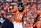 January 19, 2014; Denver, CO, USA; Denver Broncos quarterback Peyton Manning (18) calls out in the second half against the New England Patriots in the first half of the 2013 AFC Championship football game at Sports Authority Field at Mile High. Mandatory Credit: Ron Chenoy-USA TODAY Sports
