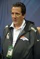 Jan 28, 2014; Newark, NJ, USA; Denver Broncos quarterbacks coach Greg Knapp during Media Day for Super Bowl XLIII at Prudential Center. Mandatory Credit: Kirby Lee-USA TODAY Sports