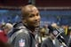 Jan 28, 2014; Newark, NJ, USA; Denver Broncos cornerback Champ Bailey (24) is interviewed during Media Day for Super Bowl XLIII at Prudential Center. Mandatory Credit: Kirby Lee-USA TODAY Sports