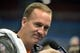 Jan 28, 2014; Newark, NJ, USA; Denver Broncos quarterback Peyton Manning is interviewed during Media Day for Super Bowl XLIII at Prudential Center. Mandatory Credit: Kirby Lee-USA TODAY Sports