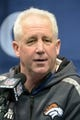 Jan 28, 2014; Newark, NJ, USA; Denver Broncos head coach John Fox is interviewed during Media Day for Super Bowl XLIII at Prudential Center. Mandatory Credit: Kirby Lee-USA TODAY Sports