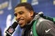 Jan 28, 2014; Newark, NJ, USA; Seattle Seahawks middle linebacker Bobby Wagner (54) is interviewed during Media Day for Super Bowl XLIII at Prudential Center. Mandatory Credit: Brad Penner-USA TODAY Sports