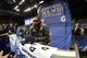 Jan 28, 2014; Newark, NJ, USA; Seattle Seahawks strong safety Kam Chancellor (31) is interviewed during Media Day for Super Bowl XLIII at Prudential Center. Mandatory Credit: Brad Penner-USA TODAY Sports
