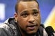 Jan 28, 2014; Newark, NJ, USA; Seattle Seahawks wide receiver Percy Harvin is interviewed during Media Day for Super Bowl XLIII at Prudential Center. Mandatory Credit: Brad Penner-USA TODAY Sports