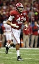 Jan 2, 2014; New Orleans, LA, USA; Alabama Crimson Tide linebacker Adrian Hubbard (42) on the field against the Oklahoma Sooners during the second half of the Sugar Bowl at the Mercedes-Benz Superdome. Mandatory Credit: Chuck Cook-USA TODAY Sports