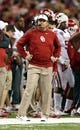 Jan 2, 2014; New Orleans, LA, USA; Oklahoma Sooners head coach Bob Stoops watches their game against the Alabama Crimson Tide during the second quarter of the Sugar Bowl at the Mercedes-Benz Superdome. Mandatory Credit: Chuck Cook-USA TODAY Sports
