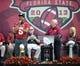Feb 1, 2014; Tallahassee, FL, USA; Florida State Seminoles quarterback Jameis Winston (5) speaks during the BCS National Championship Celebration at Doak Campbell Stadium. Mandatory Credit: Melina Vastola-USA TODAY Sports