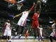 Jan 20, 2014; Auburn Hills, MI, USA; Los Angeles Clippers center DeAndre Jordan (6) gets a rebound over Detroit Pistons center Andre Drummond (0) during the first quarter at The Palace of Auburn Hills. Clippers beat the Pistons 112-103. Mandatory Credit: Raj Mehta-USA TODAY Sports