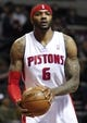 Jan 20, 2014; Auburn Hills, MI, USA; Detroit Pistons small forward Josh Smith (6) holds the ball during the first quarter against the Los Angeles Clippers at The Palace of Auburn Hills. Clippers beat the Pistons 112-103. Mandatory Credit: Raj Mehta-USA TODAY Sports