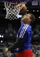 Jan 20, 2014; Auburn Hills, MI, USA; Los Angeles Clippers power forward Blake Griffin (32) warms up with a dunk before the game against the Detroit Pistons at The Palace of Auburn Hills. Clippers beat the Pistons 112-103. Mandatory Credit: Raj Mehta-USA TODAY Sports