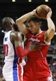 Jan 20, 2014; Auburn Hills, MI, USA; Los Angeles Clippers power forward Blake Griffin (32) gets defended by Detroit Pistons power forward Greg Monroe (10) during the first quarter at The Palace of Auburn Hills. Clippers beat the Pistons 112-103. Mandatory Credit: Raj Mehta-USA TODAY Sports