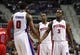 Jan 20, 2014; Auburn Hills, MI, USA; Detroit Pistons shooting guard Rodney Stuckey (3) , center Andre Drummond (0) and shooting guard Kentavious Caldwell-Pope (back) celebrate during the third quarter against the Los Angeles Clippers at The Palace of Auburn Hills. Clippers beat the Pistons 112-103. Mandatory Credit: Raj Mehta-USA TODAY Sports