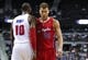 Jan 20, 2014; Auburn Hills, MI, USA; Los Angeles Clippers power forward Blake Griffin (32) and Detroit Pistons power forward Greg Monroe (10) get ready for a play during the first quarter at The Palace of Auburn Hills. Clippers beat the Pistons 112-103. Mandatory Credit: Raj Mehta-USA TODAY Sports
