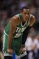 Feb 5, 2014; Philadelphia, PA, USA; Boston Celtics guard Rajon Rondo (9) during the second quarter against the Philadelphia 76ers at the Wells Fargo Center. The Celtics defeated the Sixers 114-108. Mandatory Credit: Howard Smith-USA TODAY Sports
