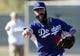 Feb 9, 2014; Glendale, AZ, USA; Los Angeles Dodgers pitchers Brian Wilson (00) throws the ball during the first day of camp at Camelback Ranch. Mandatory Credit: Rick Scuteri-USA TODAY Sports