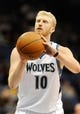 Feb 8, 2014; Minneapolis, MN, USA; Minnesota Timberwolves forward Chase Budinger (10) shoots a free throw in the second half against the Portland Trail Blazers at Target Center. The Trail Blazers defeated the Wolves  117-110.  Mandatory Credit: Marilyn Indahl-USA TODAY Sports