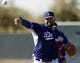 Feb 10, 2014; Glendale, AZ, USA; Los Angeles Dodgers starting pitcher Stephen Fife (59) throws off the mound during camp at Camelback Ranch. Mandatory Credit: Rick Scuteri-USA TODAY Sports