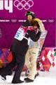 Feb 11, 2014; Krasnaya Polyana, RUSSIA; Iouri Podladtchikov (SUI, left) is congratulated by Shaun White (USA, right) after the men's snowboarding halfpipe finals of the Sochi 2014 Olympic Winter Games at Rosa Khutor Extreme Park. Mandatory Credit: Guy Rhodes-USA TODAY Sports