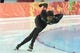 Feb 12, 2014; Sochi, RUSSIA; Shani Davis (USA) during the mens speed skating 1000m at Adler Arena Skating Center during the Sochi 2014 Olympic Winter Games. Mandatory Credit: Robert Hanashiro-USA TODAY Sports