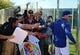 Feb 12, 2014; Glendale, AZ, USA; Los Angeles Dodgers batting coach Mark McGwire signs autographs during team workouts at Camelback Ranch. Mandatory Credit: Mark J. Rebilas-USA TODAY Sports