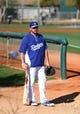 Feb 12, 2014; Glendale, AZ, USA; Los Angeles Dodgers first baseman Adrian Gonzalez during team workouts at Camelback Ranch. Mandatory Credit: Mark J. Rebilas-USA TODAY Sports