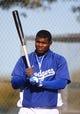 Feb 12, 2014; Glendale, AZ, USA; Los Angeles Dodgers outfielder Yasiel Puig during team workouts at Camelback Ranch. Mandatory Credit: Mark J. Rebilas-USA TODAY Sports